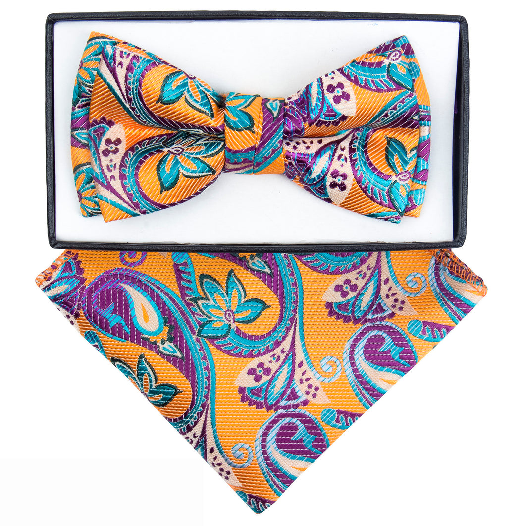 Orange,Turquoise & Purple Paisley Bow Tie set