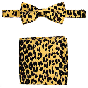 Leopard Print Bow Tie and Handkerchief Set
