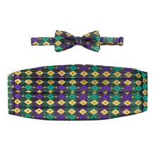Load image into Gallery viewer, Mardi Gras Metallic Harlequin Cummerbund Set