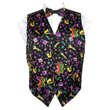 Load image into Gallery viewer, Mardi Gras Style, Vibrant Colorful Celebration Print Vest & Bow Tie ONLY…