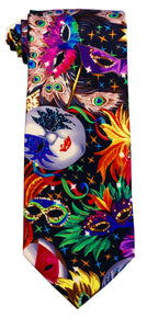Vibrant, Colorful Mardi Gras Face Print Tie ONLY