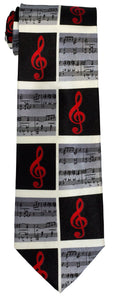 Musical Notes Tie - Red