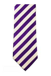 Purple/White Striped  Necktie/Handkerchief Set