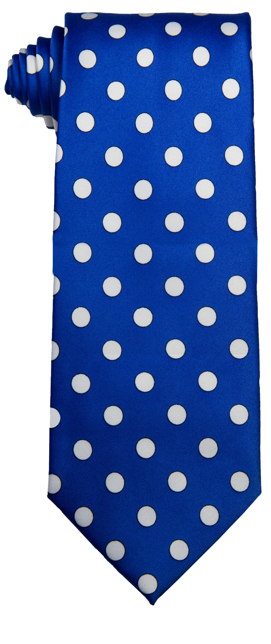 Royal & White Polka dot Tie