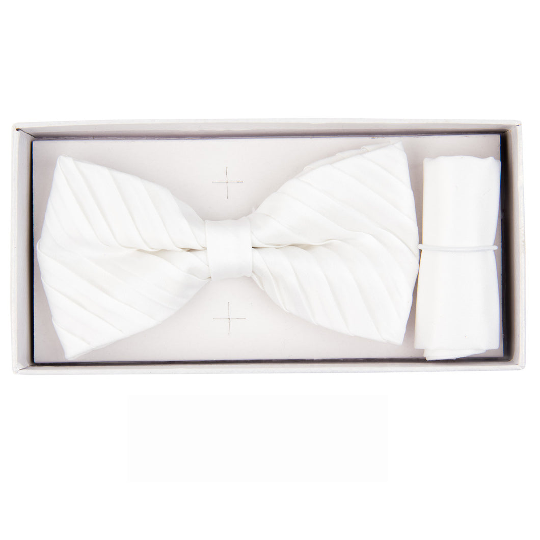 White Pleated Bow Tie