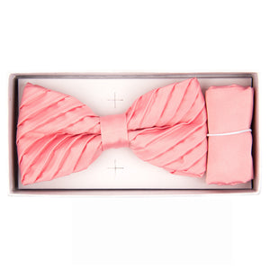 Pink Pleated Bow Tie