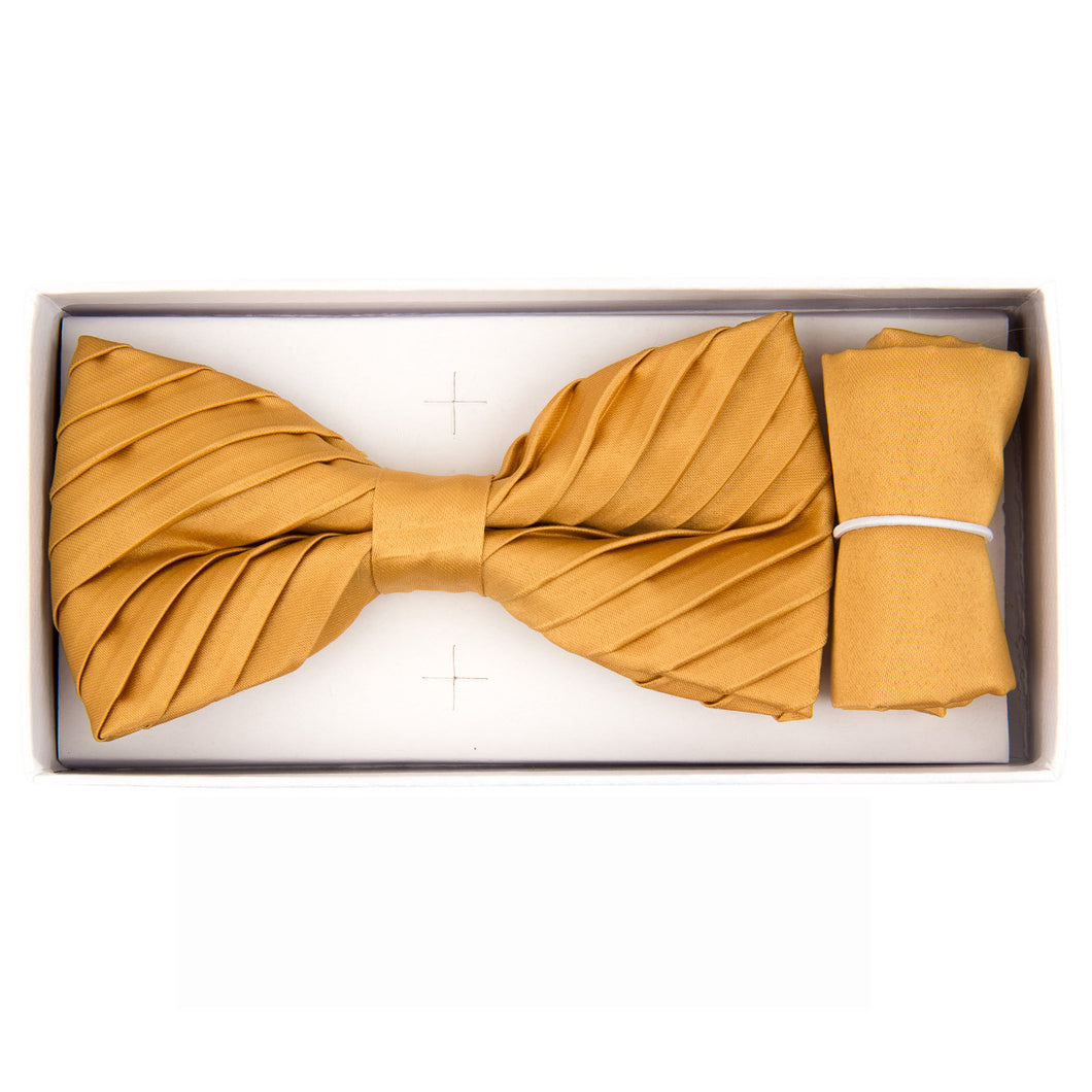 Gold Pleated Bow Tie