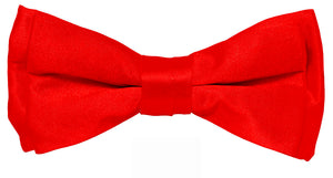 Red Boys Solid Pretied Silky Bow Tie Only