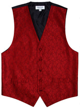 Load image into Gallery viewer, Red Paisley Vest Set