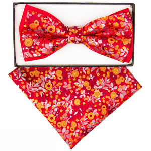 Two-Tone Bow tie Red floral Pattern