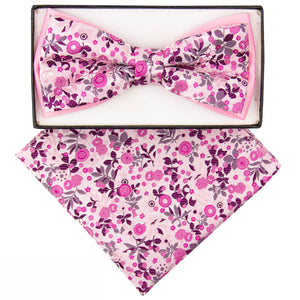 Two-Tone Bow tie pink and purple floral pattern