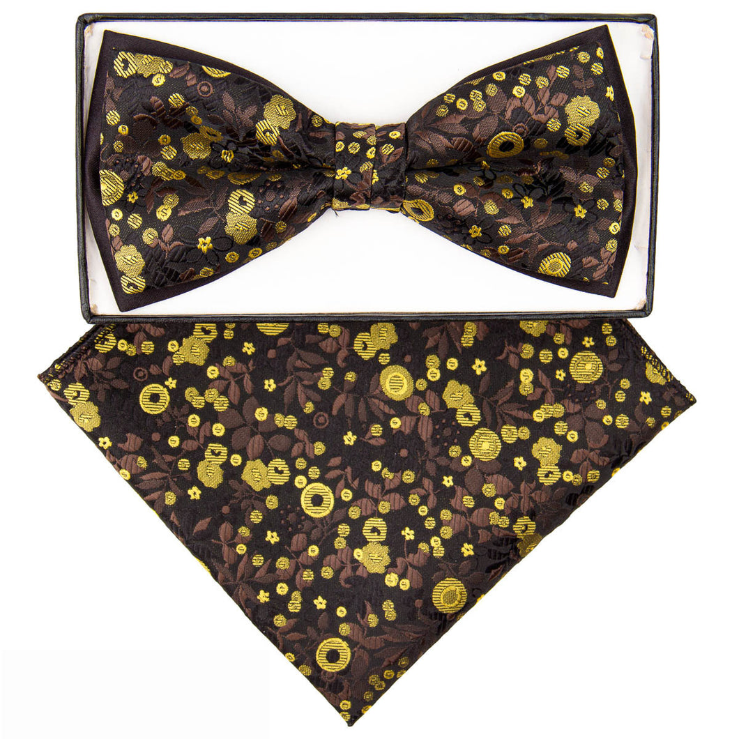 Two-Tone Bow tie brown & yellow floral pattern
