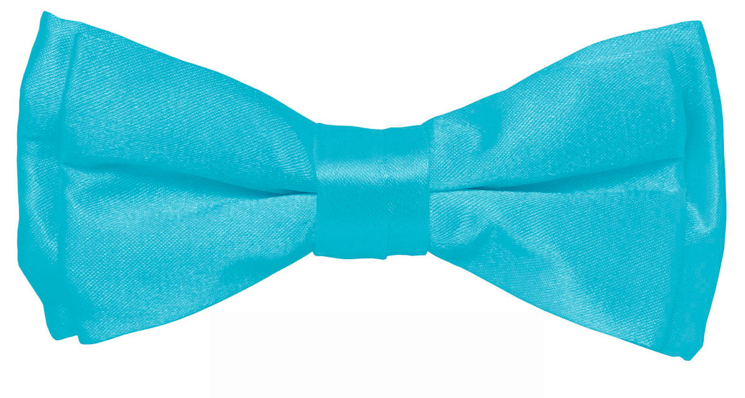 Turquoise Boys Solid Pretied Silky Bow Tie Only