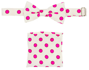 White & Hot Pink Polka Dot Pre-tied Boys Bow Tie