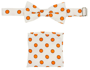 White & Orange Polka Dot Pre-tied Boys Bow Tie