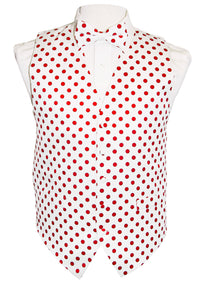 White/Red Polka Dot Vest Set