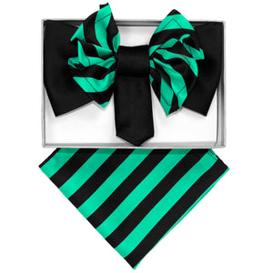 Aqua & Black Stripe XL Bow Tie Set