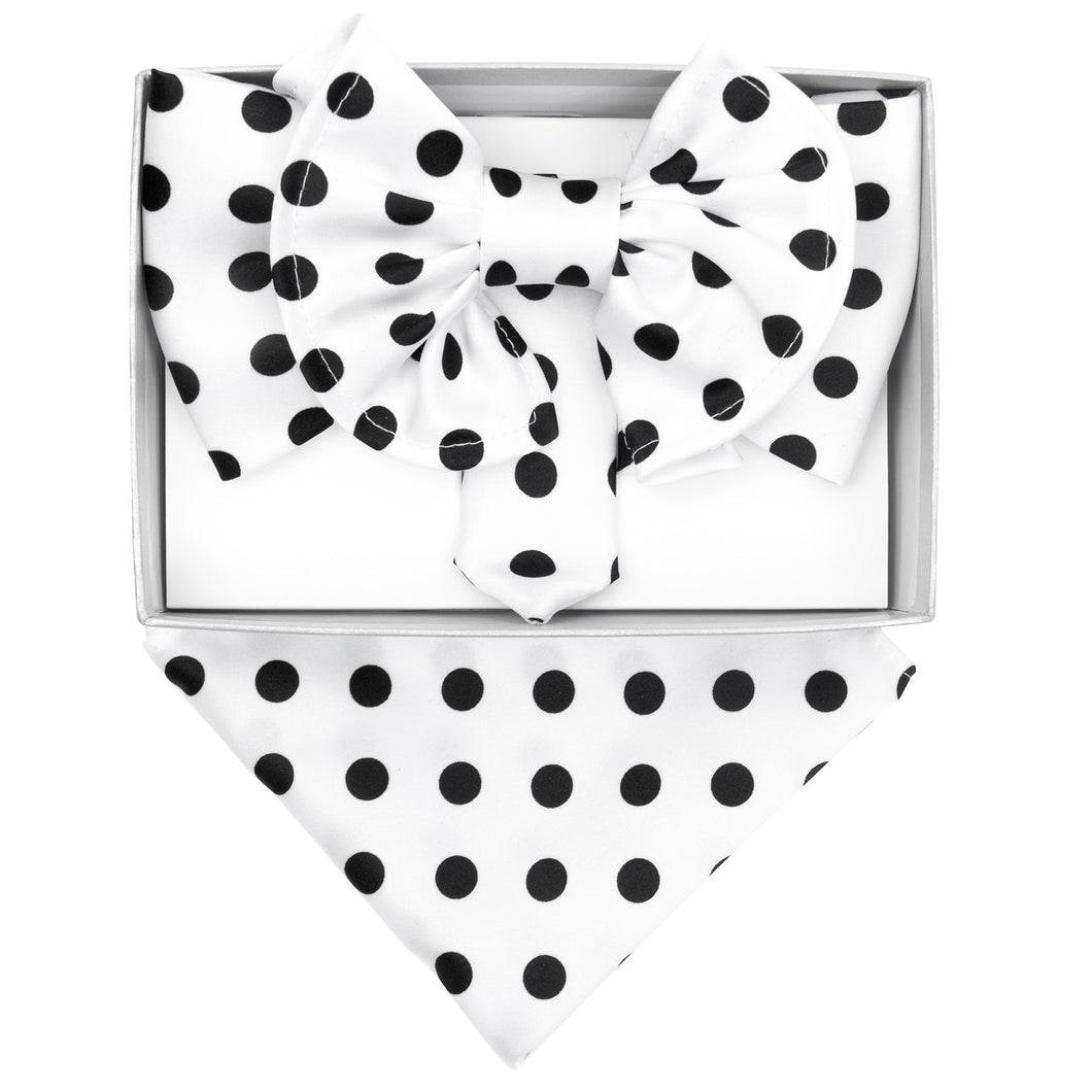 White & Black Polka dot XL Bow Tie Set