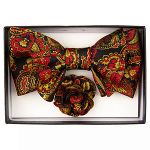 Black, Gold & Red XL Bow Tie Set