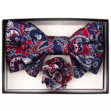Load image into Gallery viewer, Burgundy/Navy XL Bow Tie Set