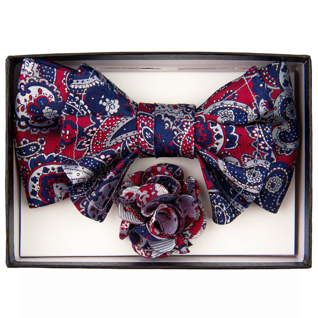 Burgundy/Navy XL Bow Tie Set
