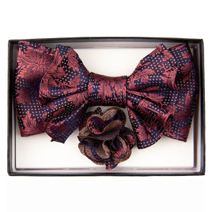 Navy/Rose Foliage Print XL Bow Tie Set