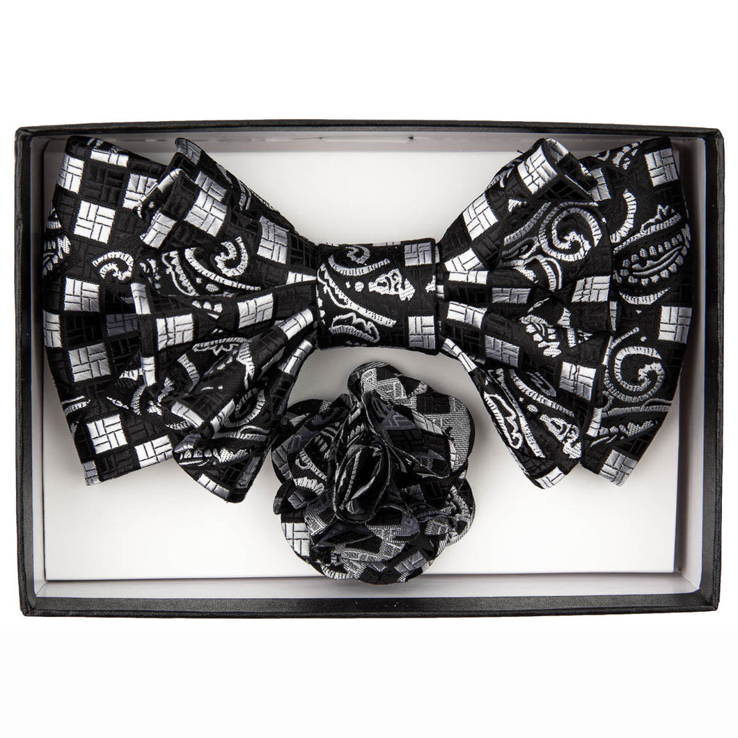 Black/White Geometric Print XL Bow Tie Set