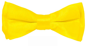 Yellow Boys Solid Pretied Silky Bow Tie Only