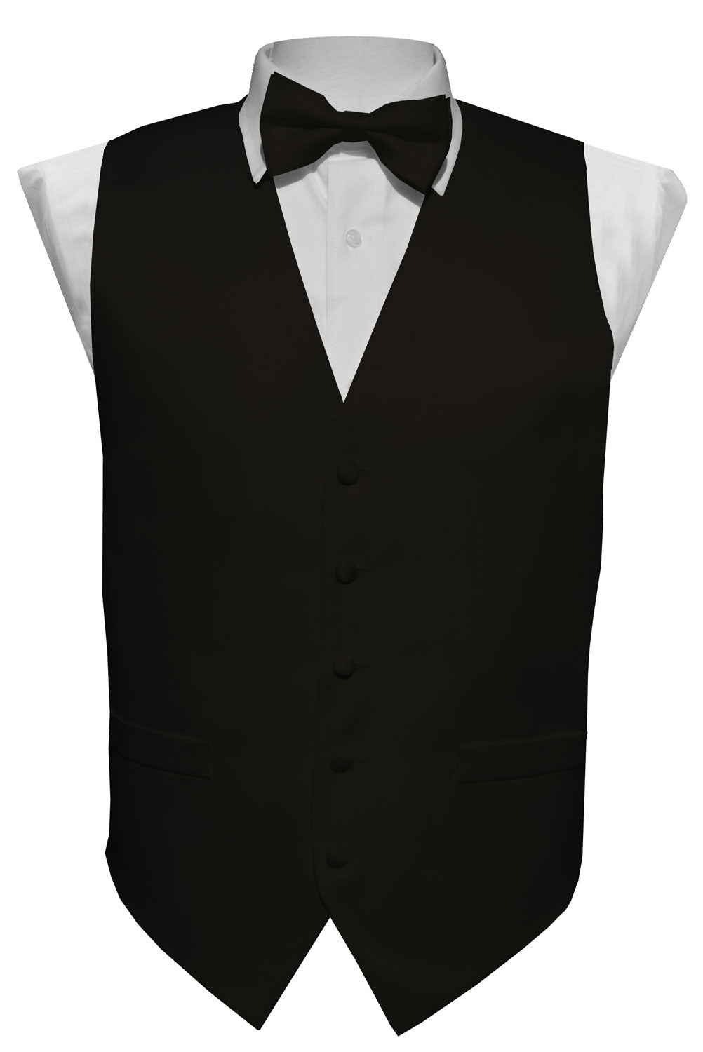 Black Solid Vest Set