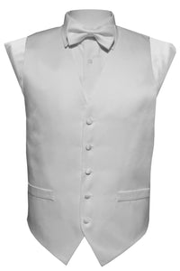 White Solid Vest Set