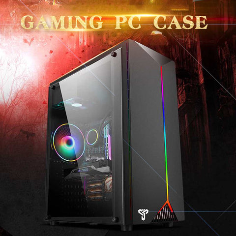 LEORY Gaming Pc Case Acrylic Transparent Side Panels Electric Contest Gaming with RGB Belt support USB3.0 4 Cooling Fan