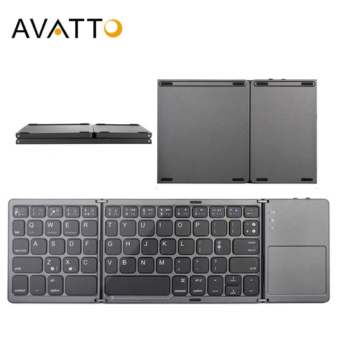 AVATTO B033 Mini folding keyboard Bluetooth Foldable Wireless Keypad with Touchpad for Windows,Android,ios Tablet ipad