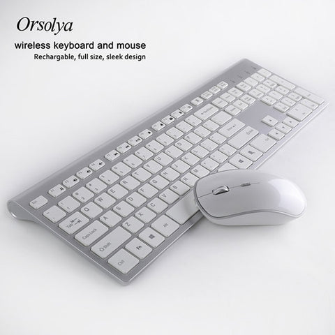 2.4G Wireless Keyboard and Mouse Combo Orsolya Rechargeable Whisper-quiet Full-size For Notebook and Desktop PC,Low noise