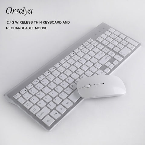 2.4G Wireless Thin Keyboard and Rechargeable Mouse Combo Orsolya Whisper-quiet For Notebook and Desktop PC, Low noise