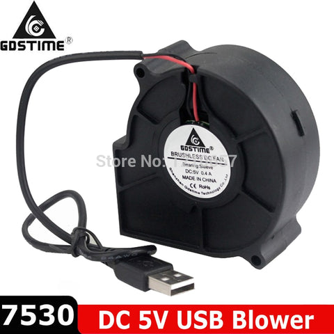 2 pieces LOT DC 5V USB 75mm 75x30mm 7530 7cm 70mm Air Flow Cooling Blower Fan