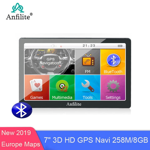 "Anfilite 7"" Capacitive 256M 8G bluetooth avin Truck GPS Navigation Car Gps Navigator wince ce6.0 800MHZ FM 2019 Europe gps map"