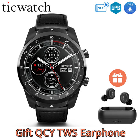 Gift Earphone Original Ticwatch Pro Smart Watch NFC Google Pay Google Assistant GPS Watch Men IP68 Layered Display Long Standby