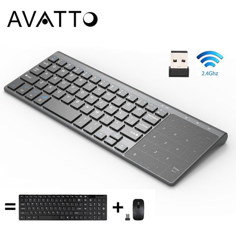 [AVATTO] Thin 2.4GHz USB Wireless Mini Keyboard with Number Touchpad Numeric Keypad for Android windows Tablet,Desktop,Laptop