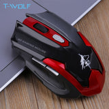 T-WOLF Q7 Silent Wireless Optical Mouse Gamer 2.4GHz PC  2400DPI Adjustable Ergonomic  for Laptop/ PC