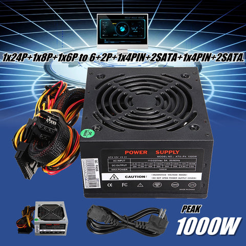 1000W Power Supply PSU PFC Silent Fan ATX 24pin 12V PC Computer SATA Gaming PC  For Intel AMD Computer