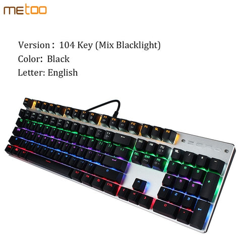 Metoo edition gaming Mechanical Keyboard 87/104 keys Anti-ghosting Luminous blue switch Backlit Wired English/Russian