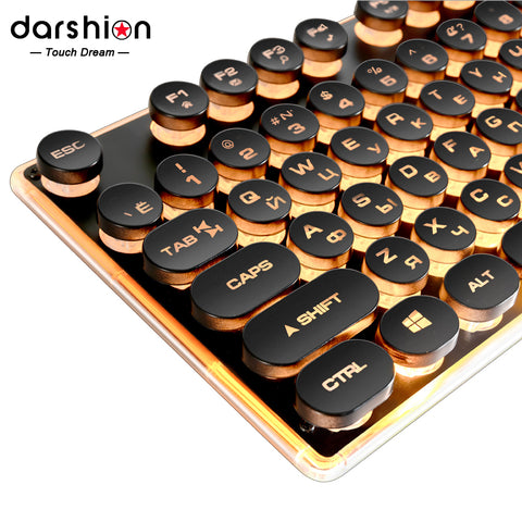 Gaming Russian Keyboard Retro Round Glowing Keycap Backlit USB Wired Metal Panel Illuminated Border Waterproof
