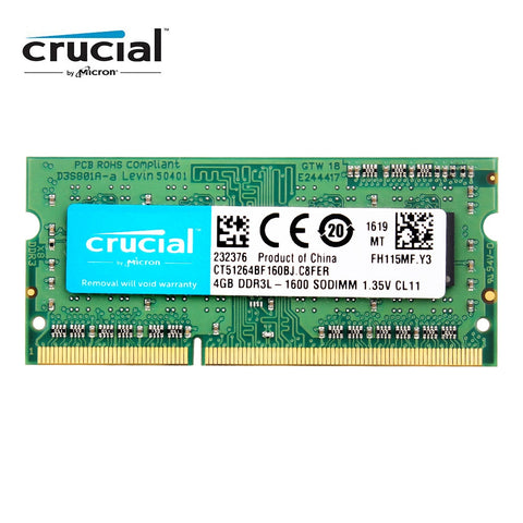 Crucial RAM SO DIMM DDR3 DDR3L 8GB 4GB 1333MHZ 1066MHz 1600 SODIMM 8 GB 12800S 1.35V  for  laptop memory