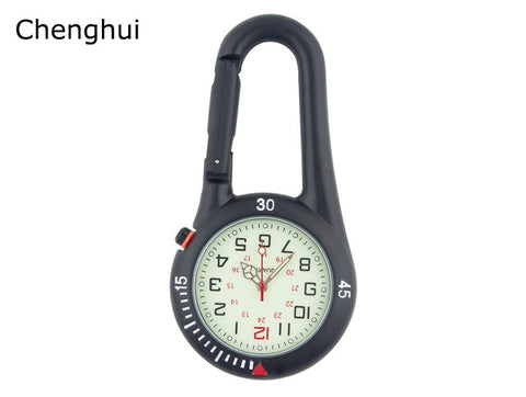 Outdoor Mini Round Dial Arabic Numbers Quartz Analog Clip Carabiner Hook Watch pocket watch Strong luminous