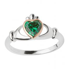 House Of Lor Sterling Silver Green CZ Claddagh Ring H20040.