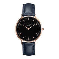 Rosefield The Bowery Black Blue Rose Gold Watch BBBUR-B18