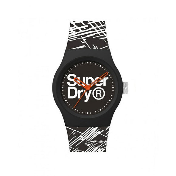 Superdry - Urban Etch Round Case in Black Plastic Dial Black Watch