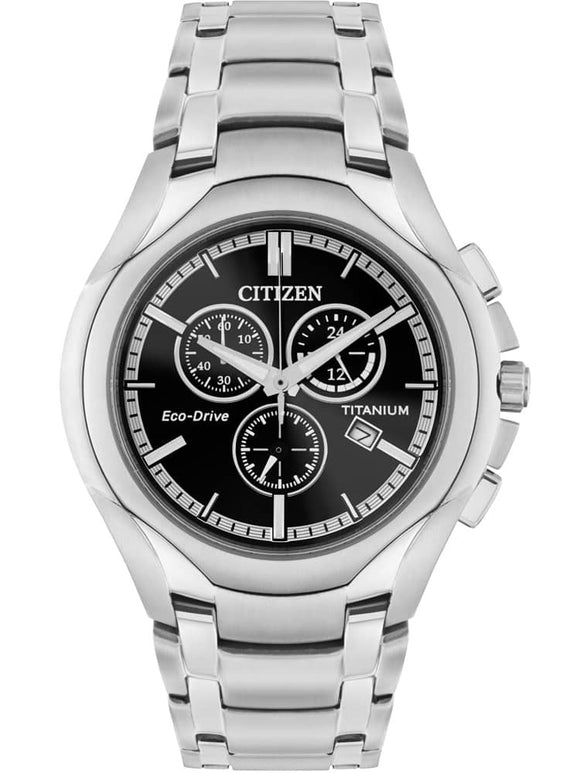 Citizen Mens Eco-Drive Titanium Black Chronograph Dial Bracelet Watch
