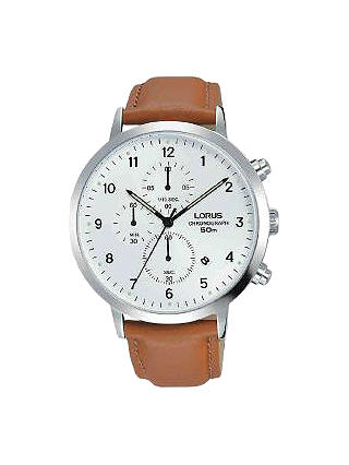 Lorus Gents Chronograph Date Leather Strap Watch