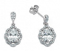 Sterling Silver Cubic Zirconia Micro Pave Flower Drop Earrings